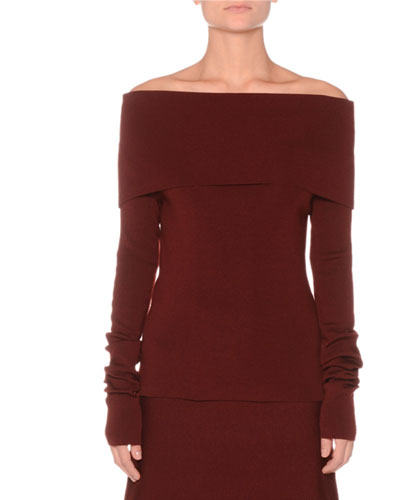 Off-the-Shoulder Extra Fine Merino Knit Sweater
