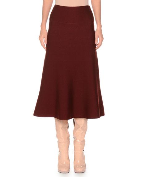 Merino Extra Fine Wool-Blend Skirt w/ Side Zip
