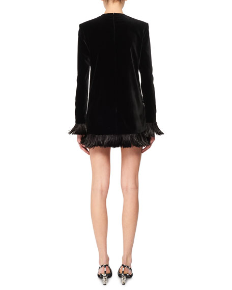 Jewel-Neck Long-Sleeve Velvet Mini Dress w/ Feather Trim