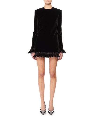 Jewel-Neck Long-Sleeve Velvet Mini Dress w/ Feather Trim