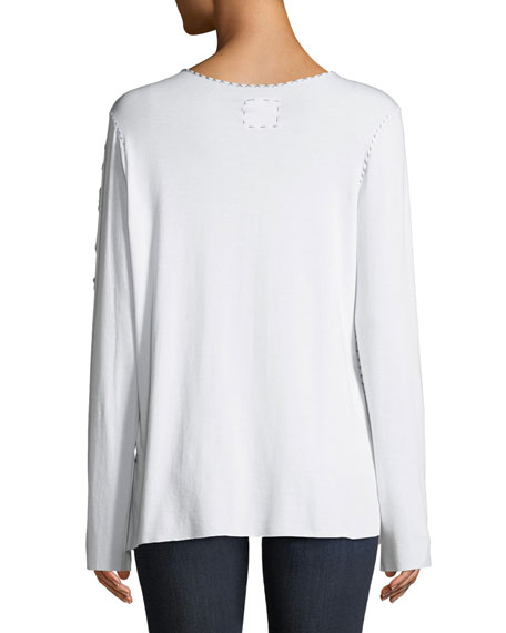 Made on Grand Crewneck Long-Sleeve Bamboo Topstitching T-Shirt w/ S.W.A.G on Sleeve