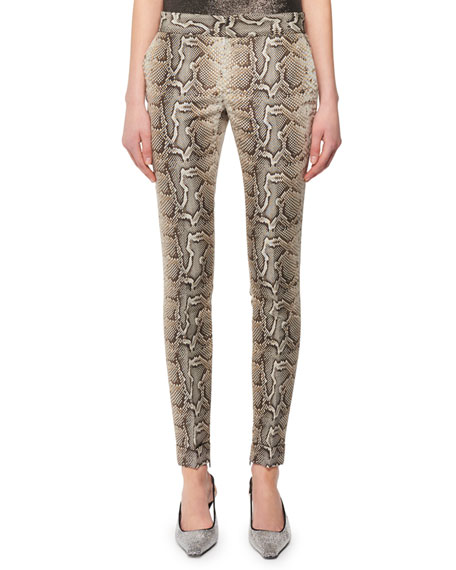 Snake-Print Stretch-Cotton Twill Skinny Pants