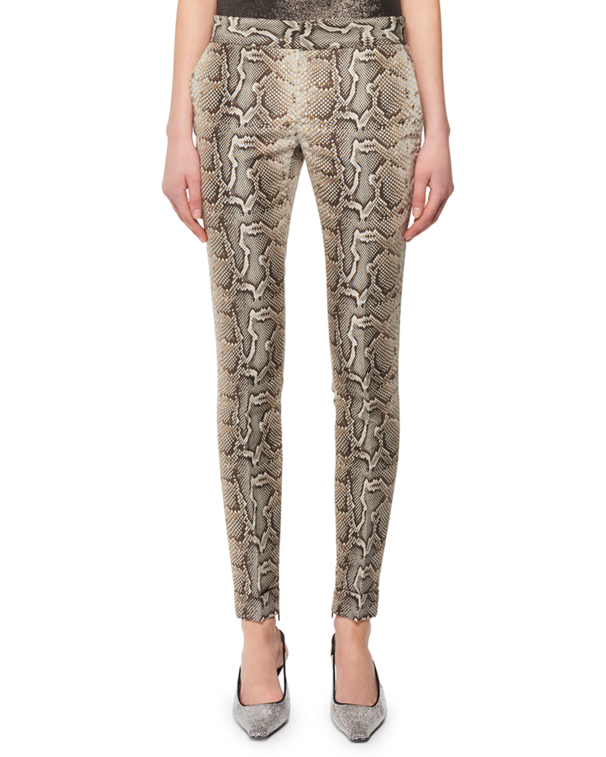 Exact Product: Snake-Print Stretch-Cotton Twill Skinny Pants, Brand: Tom Ford, Available on: neimanmarcus.com, Price: $2200