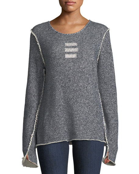 MADE ON GRAND Round-Neck Triple Crystal-Bar Cotton Sweatshirt in Light Blue