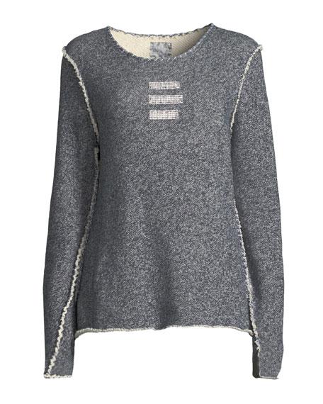 Round-Neck Triple Crystal-Bar Cotton Sweatshirt