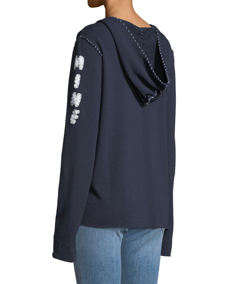 Hoodie Topstitch Sweatshirt w/ M.I.N.E On Arm