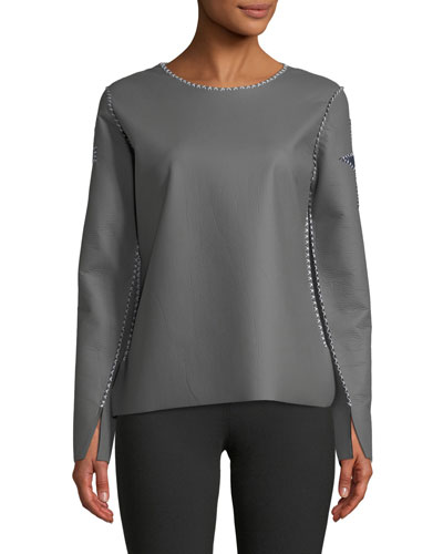 Crewneck Cross-Patch Arm Faux-Leather Top w/ Stitching