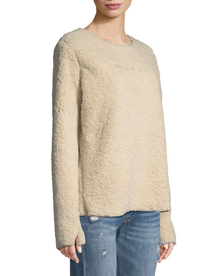 Faux-Shearling Pullover Sweater w/ Crystal-Bar