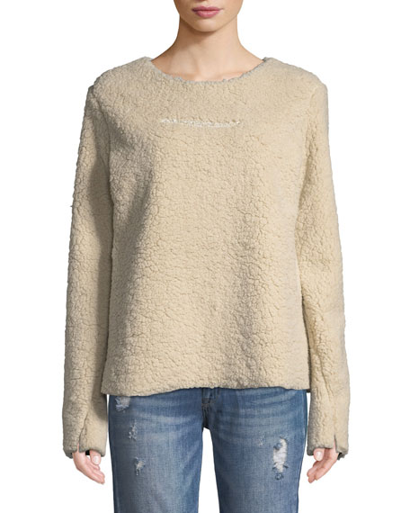 MADE ON GRAND Faux-Shearling Pullover Sweater W/ Crystal-Bar in Cream
