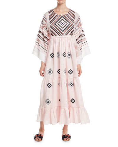 Agra Round-Neck Flare-Sleeves Diamond-Patch Linen Long Dress