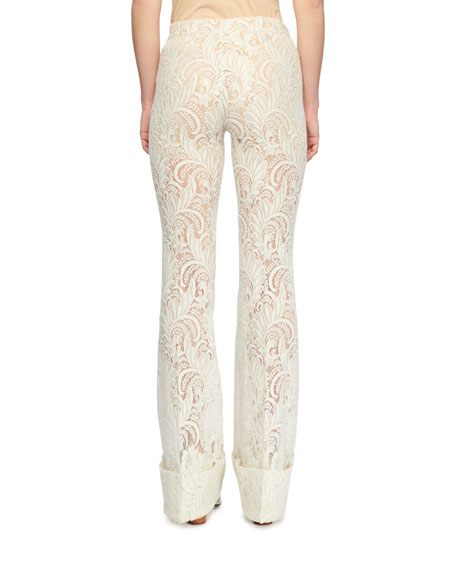 Paisley Straight-Leg Embroidered Lace Pants