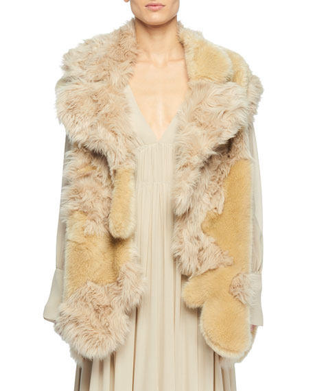 Oversized Patchwork Faux Fur Coat, Ivory