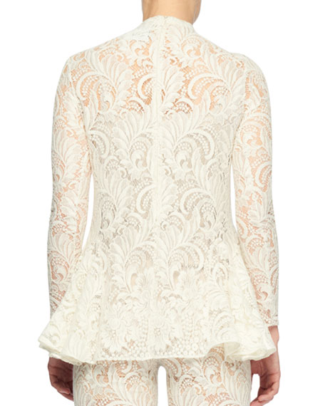 Long-Sleeve Sheer Front Pearlescent-Bead Lace Blouse