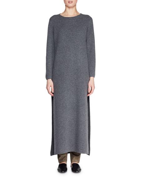 Veronia Round-Neck Long-Sleeve Side-Split Wool-Blend Long Dress