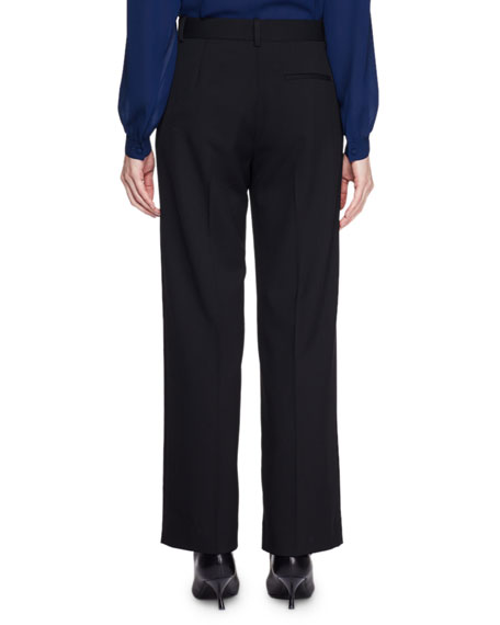 Ina Mid-Rise Straight-Leg Wool Pants