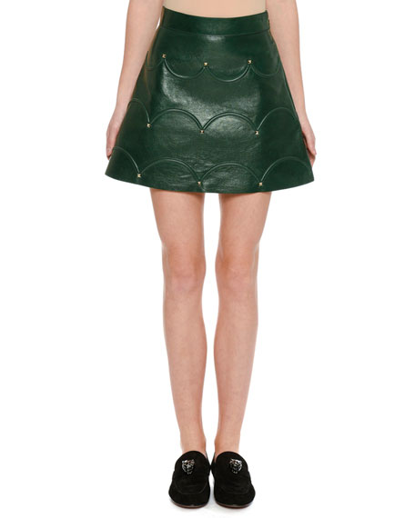 Scalloped Rockstud Leather A-Line Miniskirt