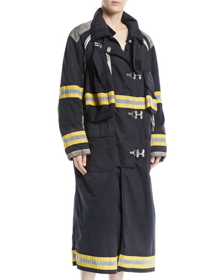 Aged Long Fireman Coat w/ Reflective Stripes