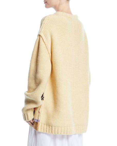 Looney Tunes Road Runner Crewneck Inverted-Stitch Wool Sweater