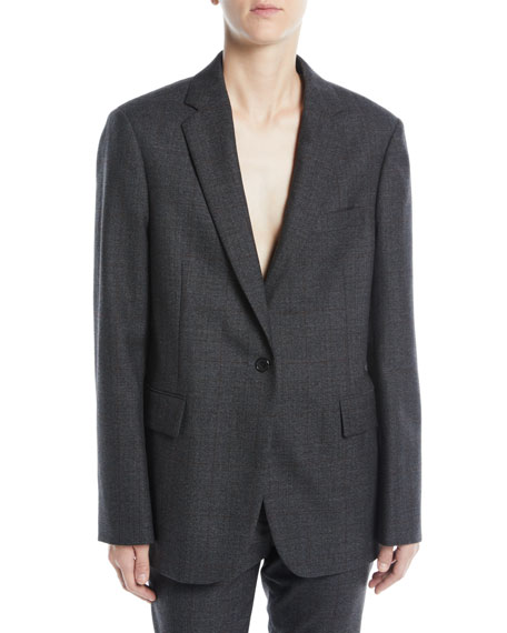 CALVIN KLEIN 205W39NYC One-Button Notched-Collar Worsted Wool Check Oversized Jacket