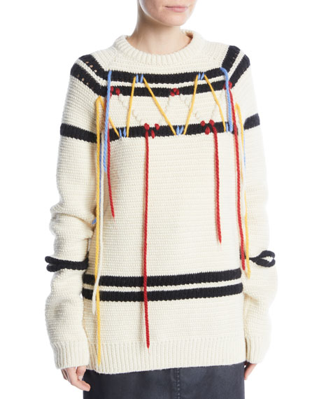 Image 1 of 2: CALVIN KLEIN 205W39NYC Crewneck Floating Yarn Striped Wool Knit Sweater