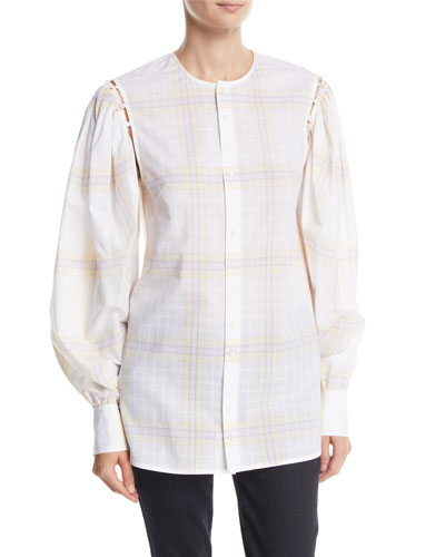 Button-Front Plaid Cotton Shirt with Detachable Puffy Sleeves