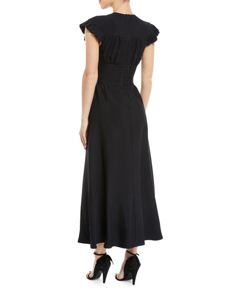 Image 2 of 2: CALVIN KLEIN 205W39NYC Ruffled Cap-Sleeve Fitted-Waist A-Line Midi Dress
