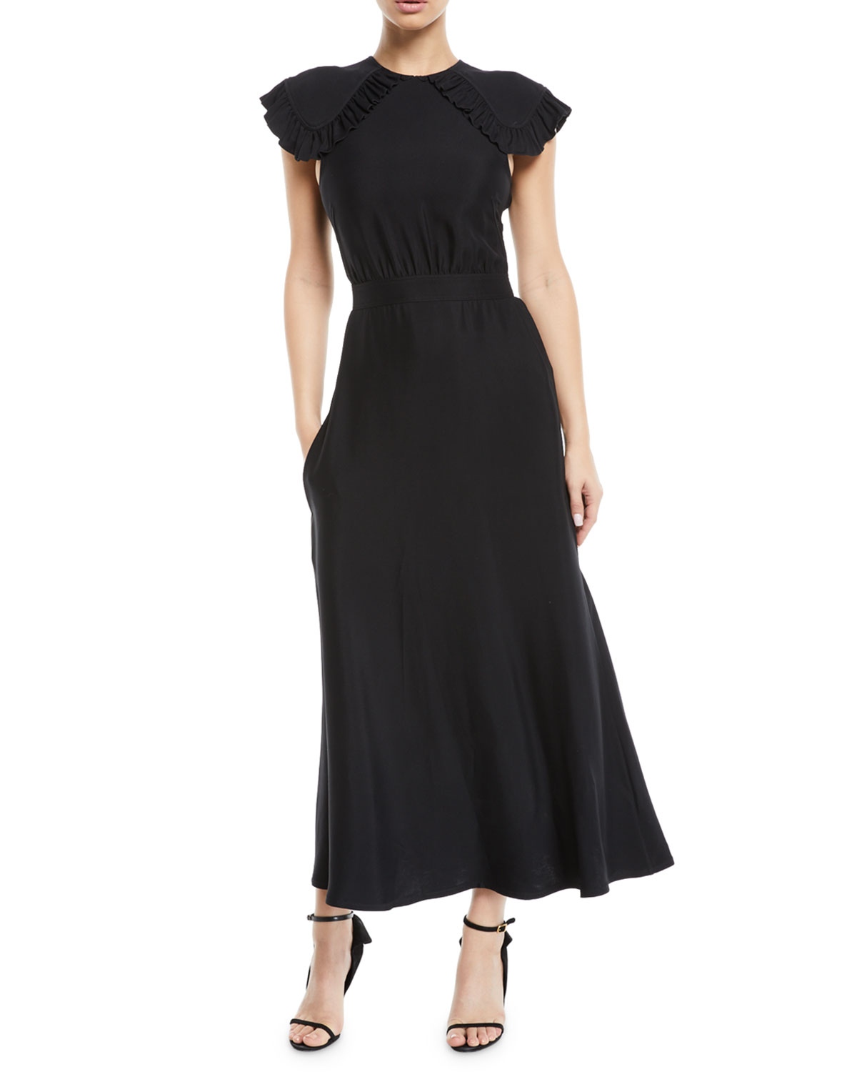 CALVIN KLEIN 205W39NYC Ruffled Cap-Sleeve Fitted-Waist A-Line Midi Dress