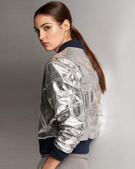 Juliet Beaded-Embellished Metallic Lamb Leather Bomber Jacket