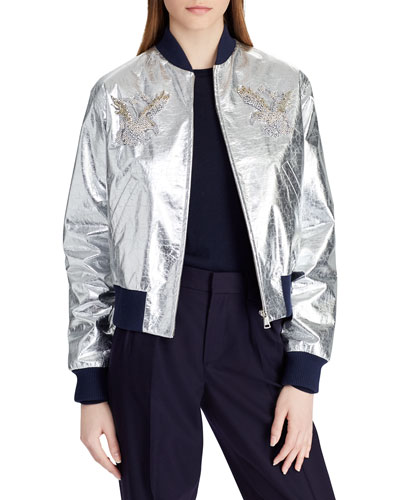 Juliet Beaded-Embellished Metallic Lamb Leather Bomber Jacket