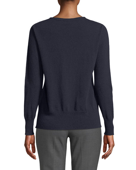Crewneck Long-Sleeve 12-Gauge Cashmere Pullover Sweater w/ Step-Hem