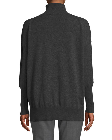 Eternals 12-Gauge Cashmere Geo-Slit Turtleneck Pullover Sweater