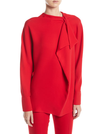 Valentino Long-Sleeve Ruffle Silk Cady Couture Blouse and