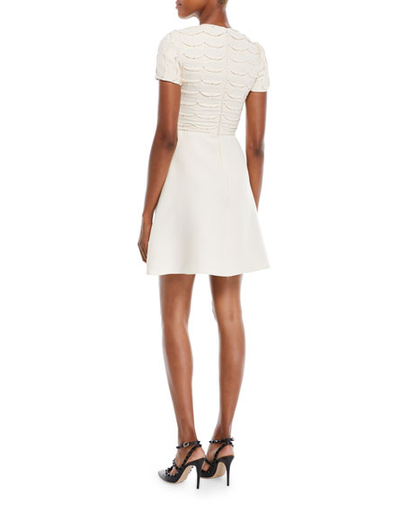 Valentino Short-Sleeve Scallop Crystal-Beaded A-Line Mini Cocktail Dress