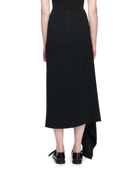 Image 2 of 2: Asymmetric-Hem A-Line Calf-Length Crepe Skirt
