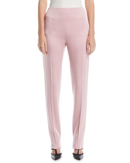 High-Waist Side-Zip Slim Straight-Leg Cady Pants