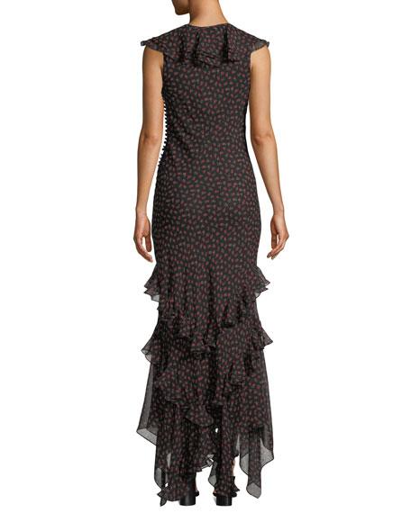 Mock-Neck Long-Sleeve Rose-Print Bias-Ruffle Silk Chiffon Long Dress