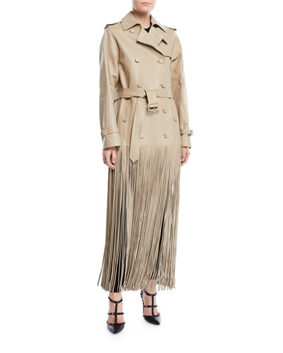 2dd30f52d4c Double-Breasted Belted Fringe Hem Leather Trench Coat