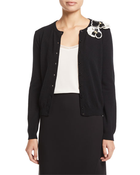 Floral-Embroidered Button-Front Wool-Cashmere Cardigan