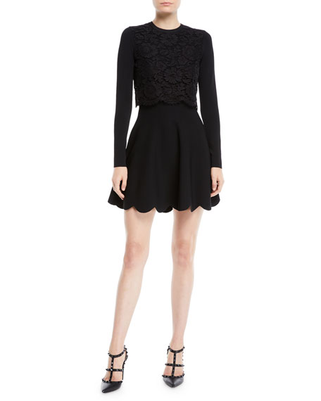 Valentino Long-Sleeve Stretch-Viscose Mini Knit Dress w/ Heavy Lace Top