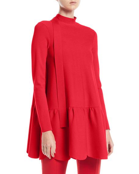 Valentino Mock-Neck Long-Sleeve Scalloped Hem Knit Top and