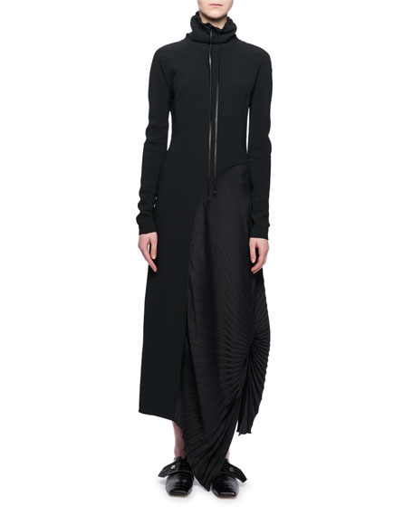 Mock-Neck Long-Sleeve Pleated-Side Long Dress