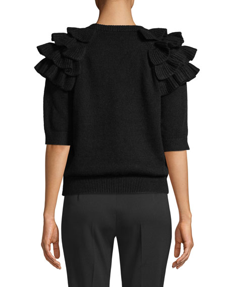 Michael Kors Collection Ruffled Elbow-Sleeve Crewneck Cashmere Sweater