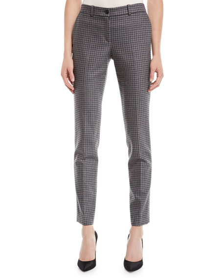 Michael Kors Collection Samantha Small Houndstooth Stretch-Flannel Pants