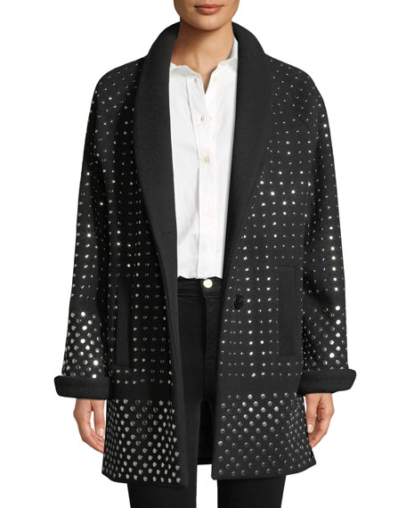 Nour Hammour Amandine Two-Button Flat Silvertone-Studs Wool-Cashmere Oversized Coat