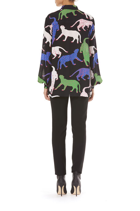 Button-Front Long-Sleeve Wildcat-Print Silk Blouse