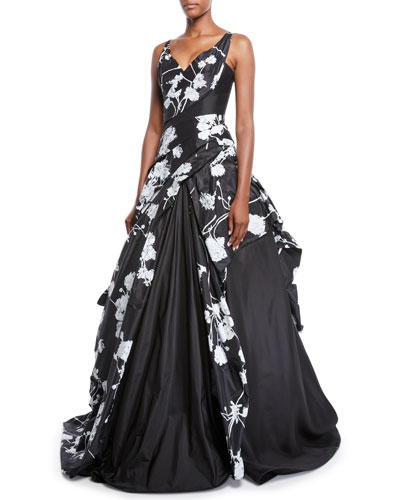 Off-the-Shoulder Scribble-Print Hand Draped Taffeta Evening Gown