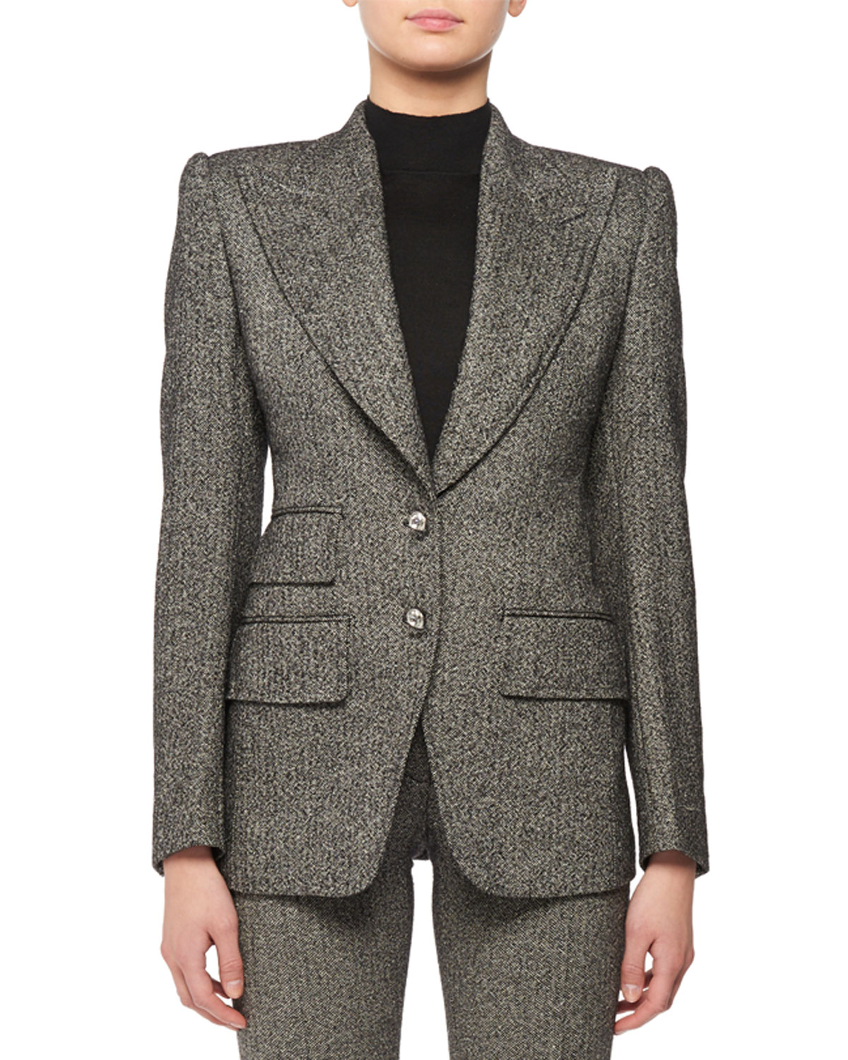 d8f7c4752f9 TOM FORD Peak-Lapel Two Crystal Button Fitted Tweed Jacket | Neiman ...