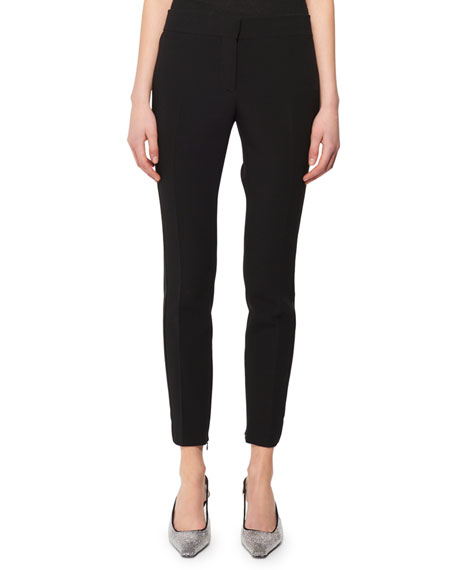 TOM FORD Mid-Rise Wool Skinny Pants w/ Tux Stripe