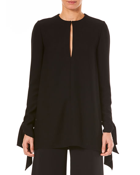 Carolina Herrera Keyhole-Front Long-Sleeve Tie-Cuffs Blouse and