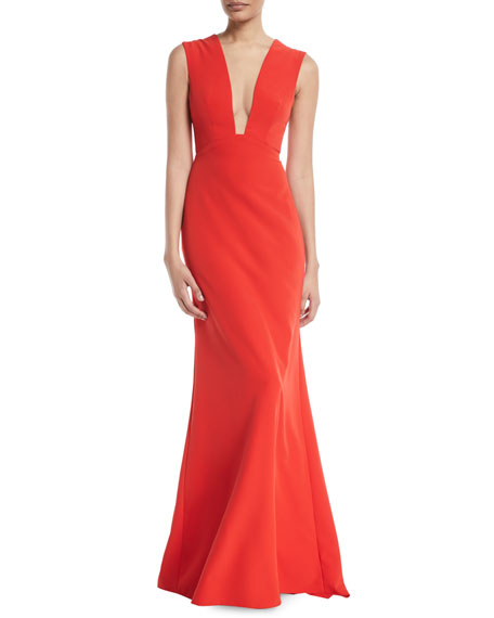 Deep-V Sleeveless Bow-Detail Trumpet Evening Gown